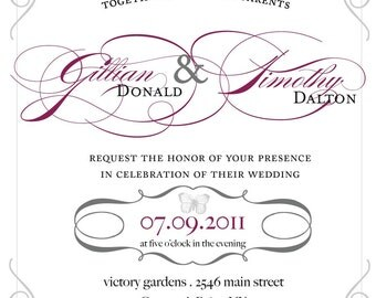 Vintage Wedding Invitation Script French Butterfly Wedding Invitation