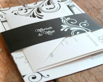 Custom Swirls Wedding Invitations,Damask Wedding Invitations,Flourish Wedding Invitation,Modern wedding invites,Calligraphy Wedding Invites