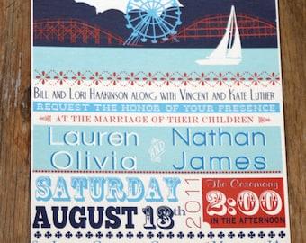Vintage Wedding Invitation Carnival Custom Wedding Invitation DYI digital files ~ we print or DYI