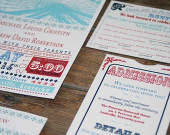 Modern Retro Wedding Invitation, Ferris Wheel Wedding Invitations, Vintage Carnival Wedding Invitations,Retro Circus Wedding Invites