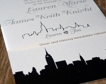 Modern Wedding Invitation, New York Wedding Invitations,Skyline Wedding Invites, NYC Wedding Invites,Any City Wedding Invitations,NYC Invite