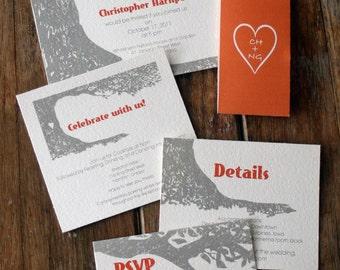 Woodland Wedding Invitations, Tree wedding invitation, Rustic Tree Wedding Invitation, Rustic Tree Wedding Invite, Oak Tree Wedding Invites