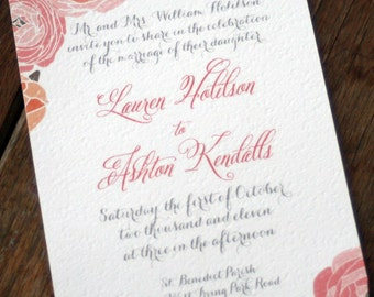 Modern Vintage Wedding Invitations,Rustic Wedding Invitation Vintage Rose Wedding Invitations,Shabby Chic Invite,Cottage Chic Wedding Invite