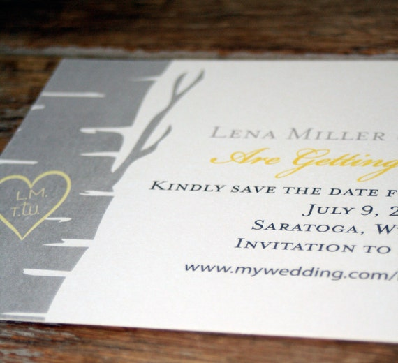 Birch Tree Save the Date, Woodland Save the Date, Winter Wedding Save the Date, Rustic Save the Date, Birch Tree Wedding Invitations