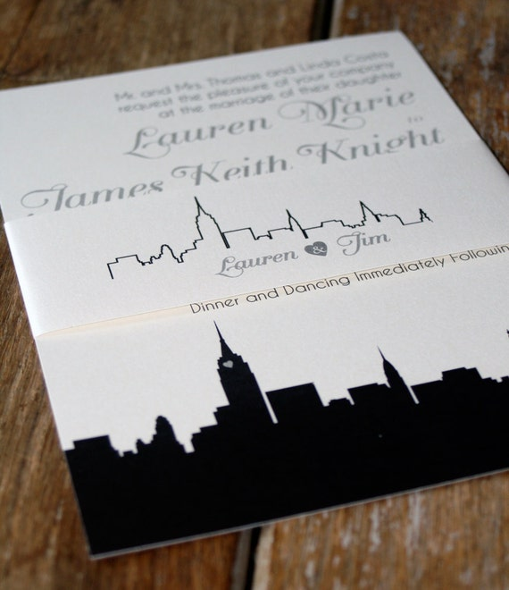 Personalized Skyline Wedding Invitations: Skyline Wedding Invitation NYC Chicago-Modern Any By