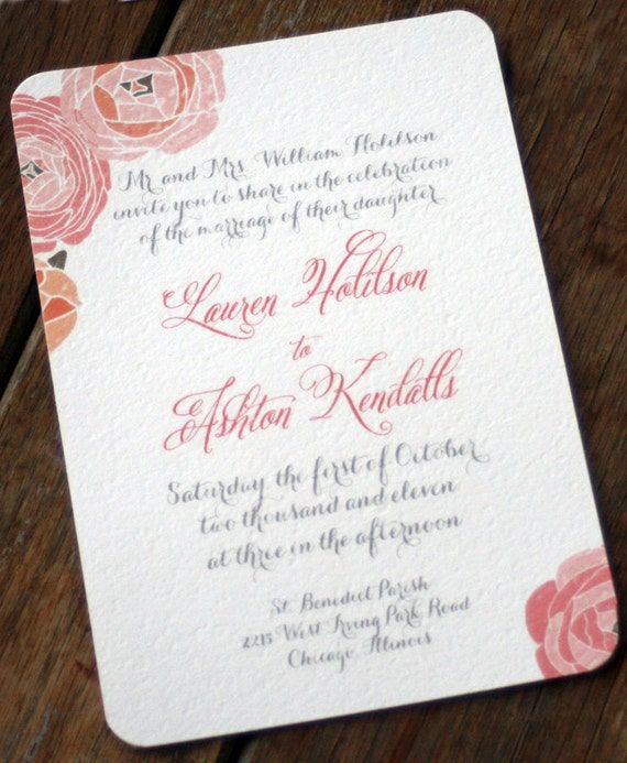 Modern Vintage Wedding Invitations,Rustic Wedding InvitationVintage Rose Wedding Invitations,Shabby Chic Invite,Cottage Chic Wedding Invites