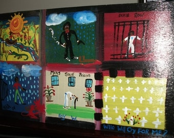 Prison Art -R0Y-Original Painting Folk Art by NitA marked 1/2 off