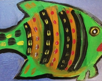 Green Fish original painting marked 1/2 off