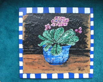 Blue Willow Pot of Flowers, original painting marked 1/2 off