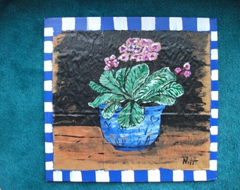 Blue Willow Pot of Flowers, original painting