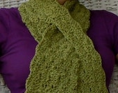Peridot green organic cotton scarf