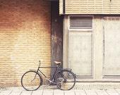 Bicycle photography - 5x7 fine art print - bike city art brown spring Sweden urban modern Europe