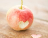 Romantic heart photograph -  Rustic kitchen decor - Fine art photography print  - Love pastel spring photo - Red nature art wedding