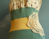 Women's Peach Green Shabby Chic Top Blouse Upcycled Rose L 'BELLINI'