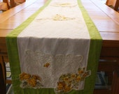 Green Yellow Shabby Chic Table Runner Long Linen Floral 'HEARTH'