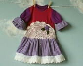 Purple Toddler Dress Upcycled Doily Plaid Flower 1T 2T 'VIOLA'