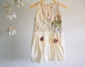 Shabby Chic Slip Dress Girl's 7 8 Peach Cream Lace Floral Country Doilies 'PHOEBE'