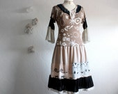 RESERVED For Karina-----------------------Women's Shabby Chic Dress Brown Fringe Hippie Bohemian Upcycled Clothing Peasant Style