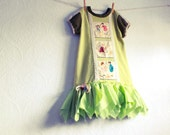 Girl's Upcycled Dress 7 8 Recycled Children's Clothing Lime Shabby Chic Applique Lace Tattered Knit  'BEATRICE'