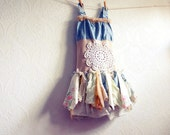 Children's Clothing Shabby Chic Dress 6 7 Blue Upcycled Fairy Clothes Tattered Lace Eco Friendly 'EMILIE'