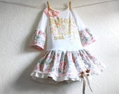 Pink Floral Toddler Dress 2T Shabby Chic Vintage Lace White Ruffles Bell Sleeves Girl's Upcycled Clothes Children's Clothing 'STACIE'