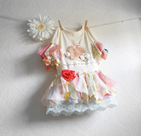Toddler's Fairy Dress 4T Cream Bunny Shabby Chic Girl's Clothing Colorful Pastel Tattered Lace Party Clothes 'NESSA'
