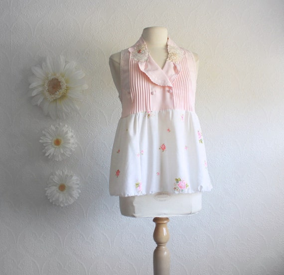 Pale Pink Upcycled Shirt Women's Floral Top Eco Fashion Shabby Chic Clothing Sleeveless Tank Vintage Lace Ladies Clothes Medium 'JULIA'