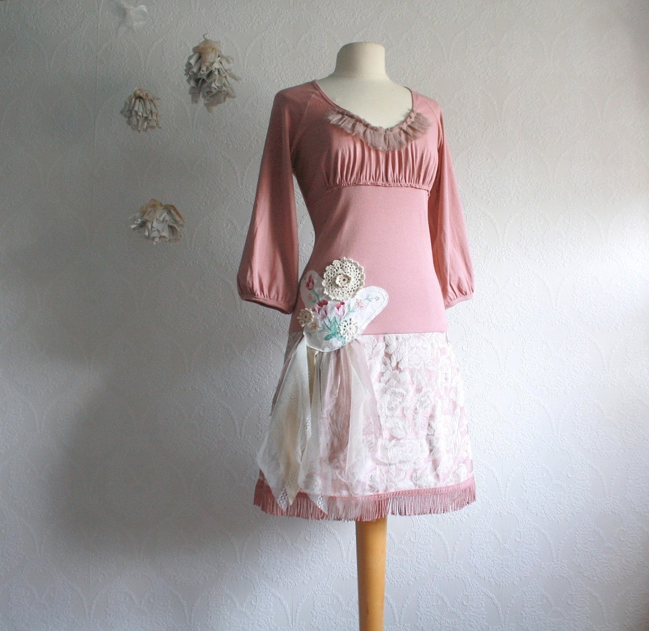 pink shabby chic dress upcyced s clothing dusty