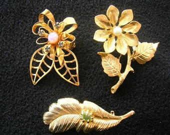 Three Vintage Gold Tone Brooches