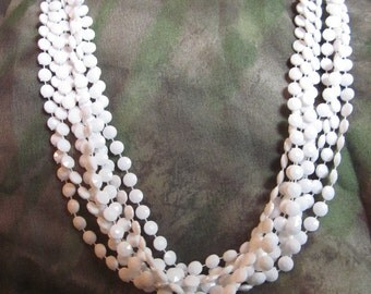 Flakes of Feathered Snow Vintage 4-Strand Costume Necklace