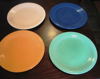 """Set of 4 Vintage Fiesta Lunch Plates 9"""" Yellow Original Green Cobalt and Ivory"""