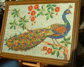 ART DECO Antique Hand Sewn Glass Beaded Peacock with Flowers Painting Needlework Wall Art