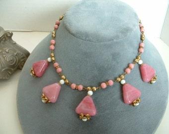 Art Deco VINTAGE CZECH Necklace Pink Pyramid Glass Classic Art Deco Necklace