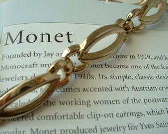 1960 Vintage MONET Golden Link Bracelet Signed Tagged CLASSIC