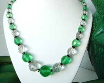 Antique Art Deco Handcut Crystal Green Necklace STUNNING All ORIGINAL French Art  Beads