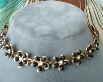 1940 Vintage Flower Necklace Rhinestones Black Lucite Golden Metal Classic