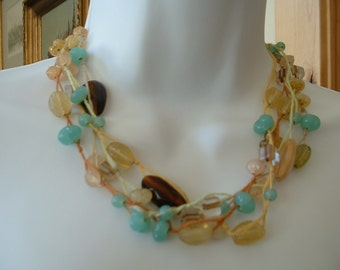 Gorgeous FOUR Strand Vintage Blue Multi Colored Glass String Beaded Wrapped Necklace  Classic