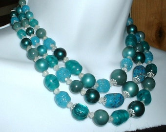 Vintage THREE Stand Multi Color Blue Foil Glass Bead Necklace FABULOUS Original