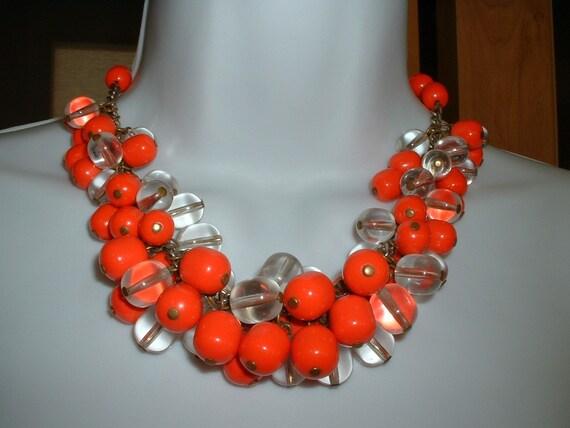 Fubulous Vintage Lucite Clear / Red Orange Handwired Bead Necklace &  Ear  Demi Parure SET