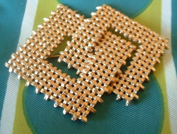 Vintage 1960 NAPIER Golden Weave Signed Pin Brooch