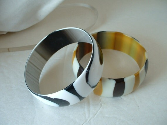 LUCITE BRACELETS  Vintage PAIR Black  White Cream Gold Stripes