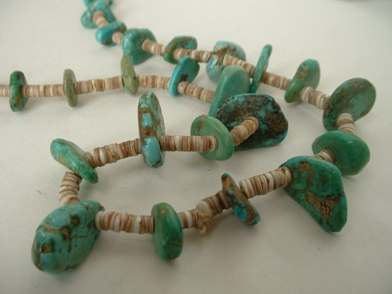 Antique Rare Native American Pueblo Large High Grade Nugget Turqouise Heishe Necklace Indian Wrapped 1940's