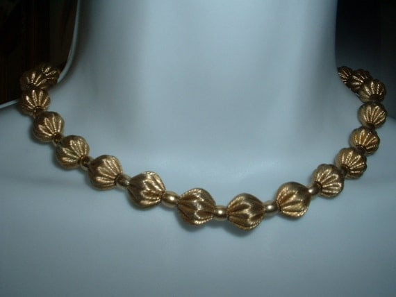 Gorgeous Vintage Textured Golden Satin Bow Fluted Bead Necklace  Classic
