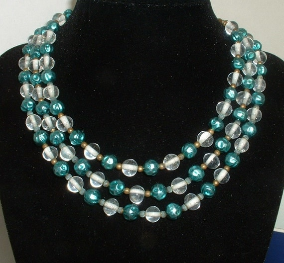 Chic Vintage Metallic Teal Blue with Crystal Clear Glass Bead Necklace Three Strand 1940 Original