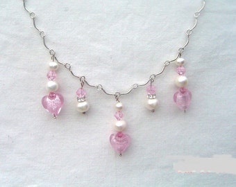 Dainty Pink Hearts and Pearl Necklace Earring Set