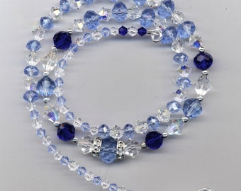 Cinderella Blues  Swarovski Crystal and Silver Necklace