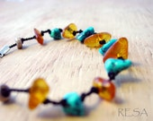 Turquoise Amber Bracelet Silk Knotted