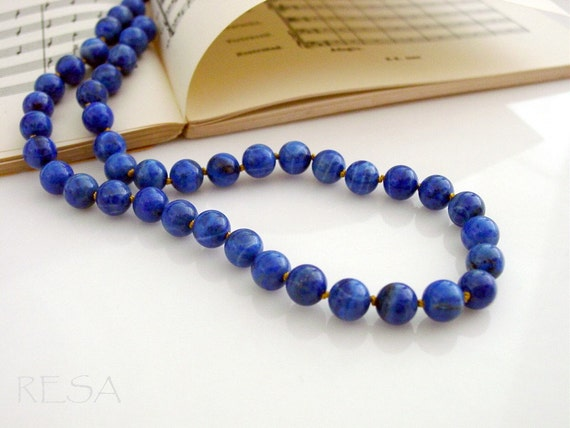 Lapis Lazuli Silk Knotted Necklace