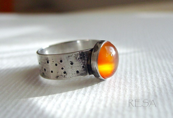 Carnelian Ring Wide Band Sterling
