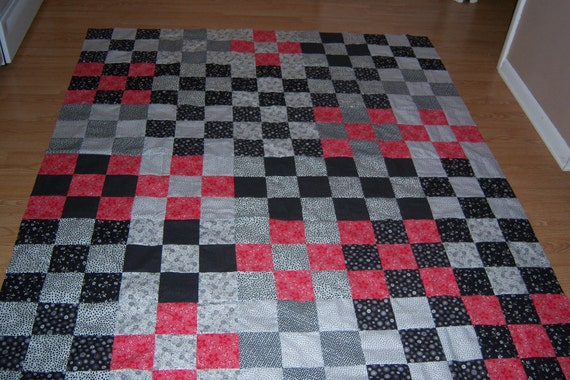 Queen Black, White and red Quilt top